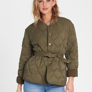 Billabong Army Green Quilted Jacket with Belt